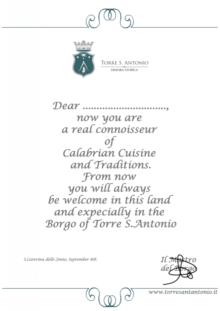 Certificate Be Calabrian